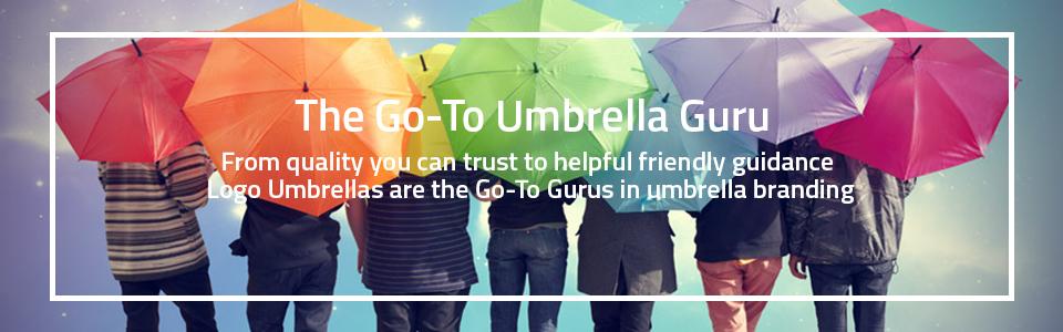 branded umbrella gurus at logo umbrellas